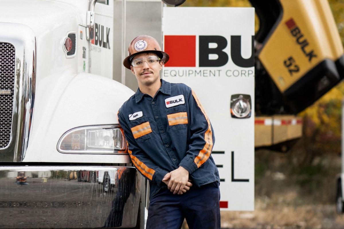 Bulk Team Member, Scott Wearing a Hard Hat and Safety Glasses
