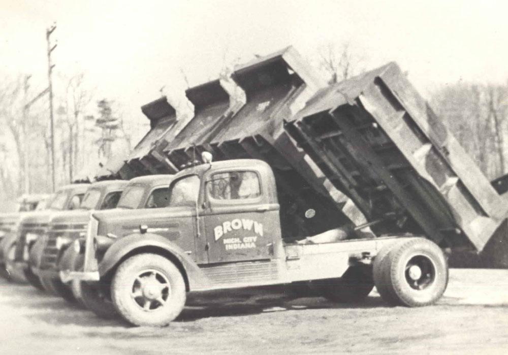 Fleet Of Brown's Dump Trucks Back In The Day