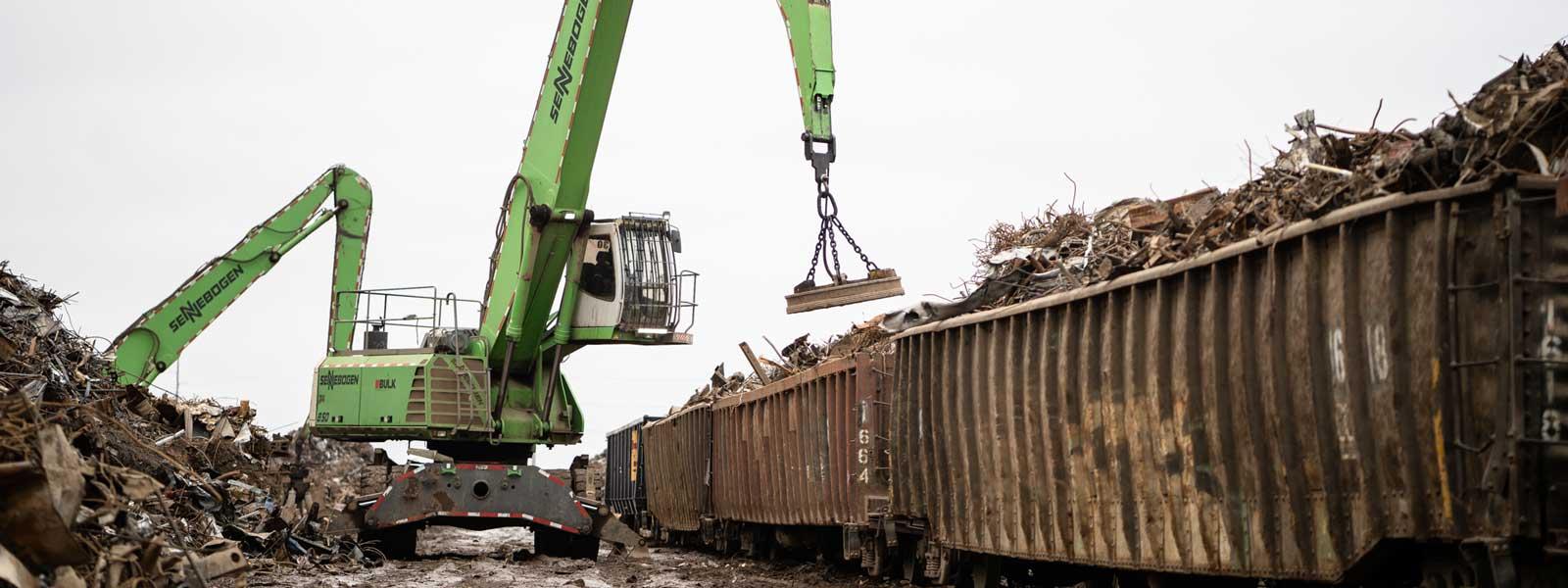 Senebogen Material Handler At Scrap Recyling Site