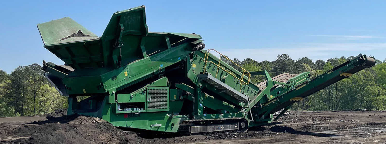 Green Mobile Screening Plant At Scrap Recycling Site