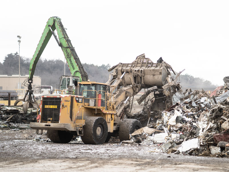 Scrap Recycling Equipment Of Bulk Equipment In Action At Project Site
